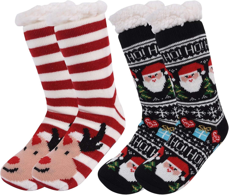 Amazon.com: Samshow 2 Pairs Women Slipper Socks with Grippers Women's  Winter Snowflake Fleece Lining Knit Christmas Knee Highs Stockings Slipper  Socks (Color-1): Shoes