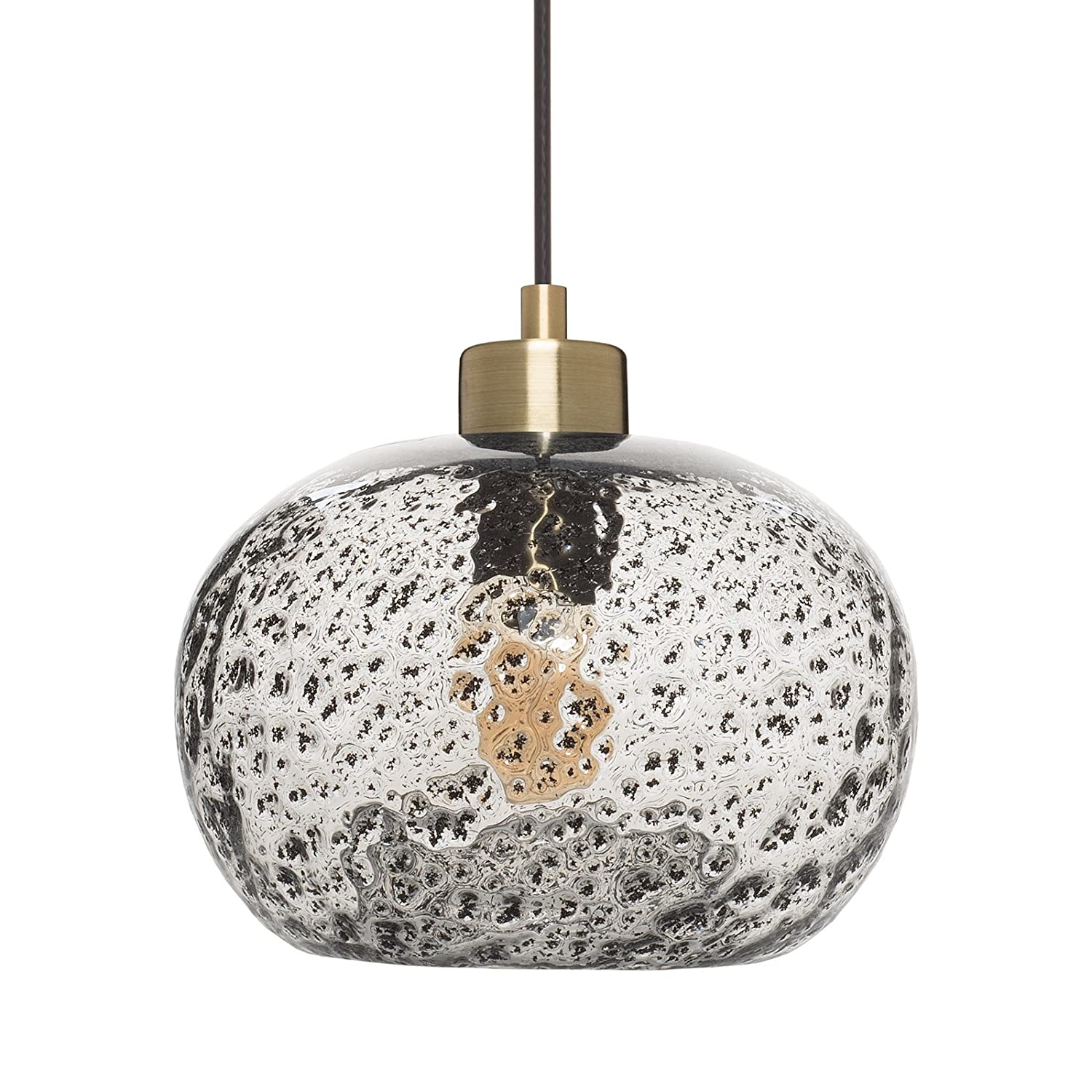 Casamotion Mini Pendant Light Handblown Rustic Seeded Glass Drop ceiling  lights, Hanging Light with black
