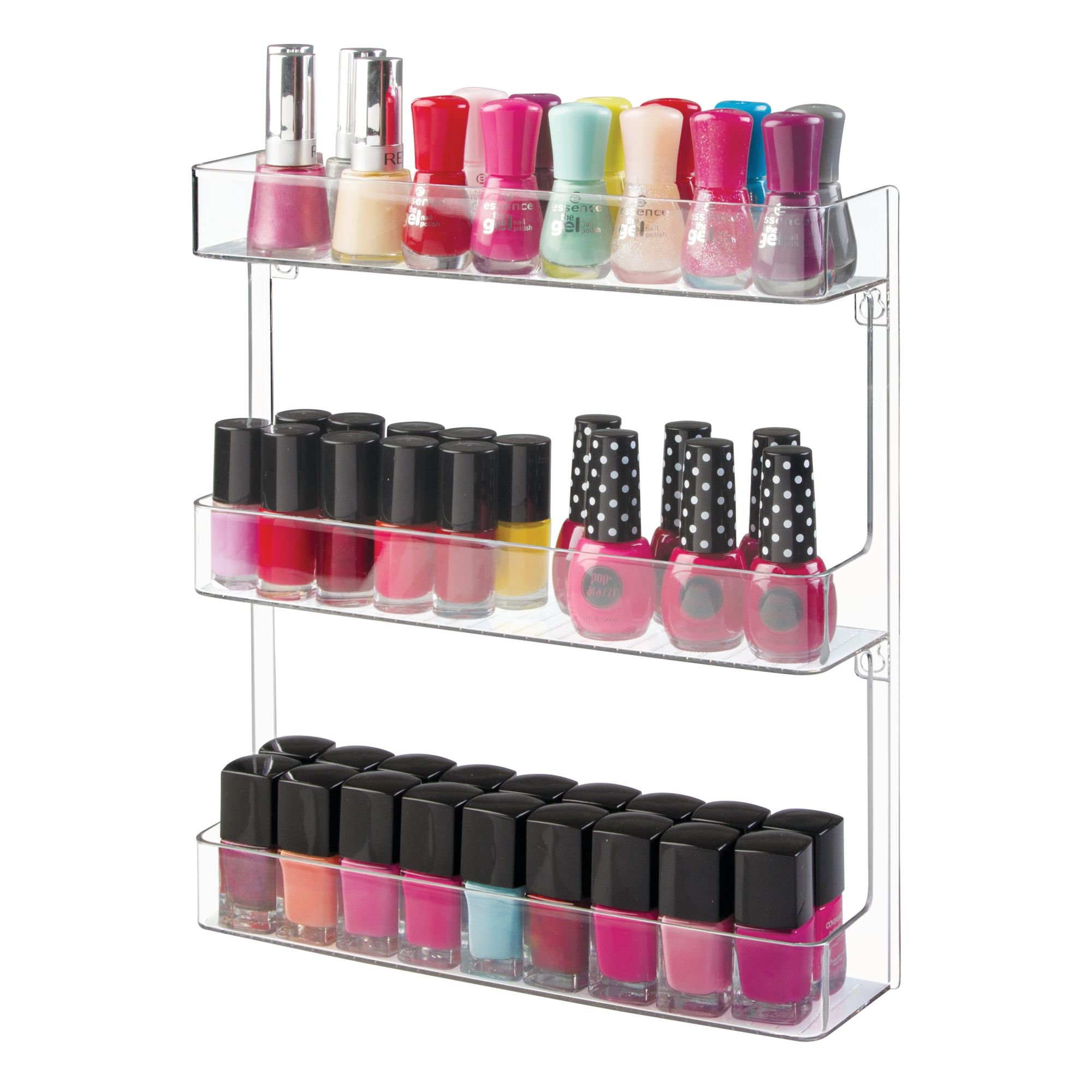 MDesign Wall Mount Plastic Nail Polish Makeup Organizer