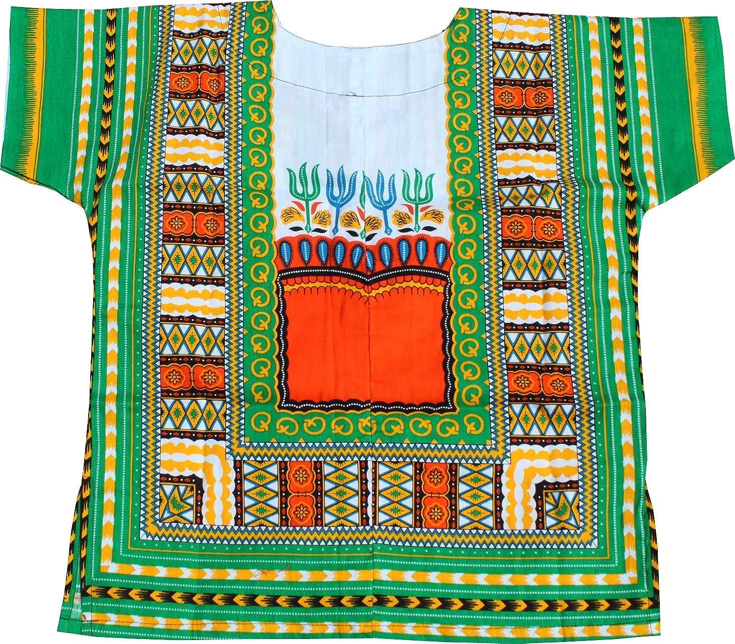 RaanPahMuang Childrens African Dashiki Long Style Shirt Short Sleeve 2 Pockets