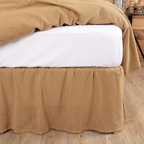 Amazon Com Vhc Brands Burlap Natural Bedding Accessory Twin Skirt 39x76x16 Tan Home Kitchen