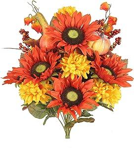 Admired By Nature ABN3B002-HARVEST 18 Stems Home Office/Wedding/Restaurant Decoration Arrangement Artificial Sunflower/Mum/Zinna Mixed Flowers Bush, 3. Harvest