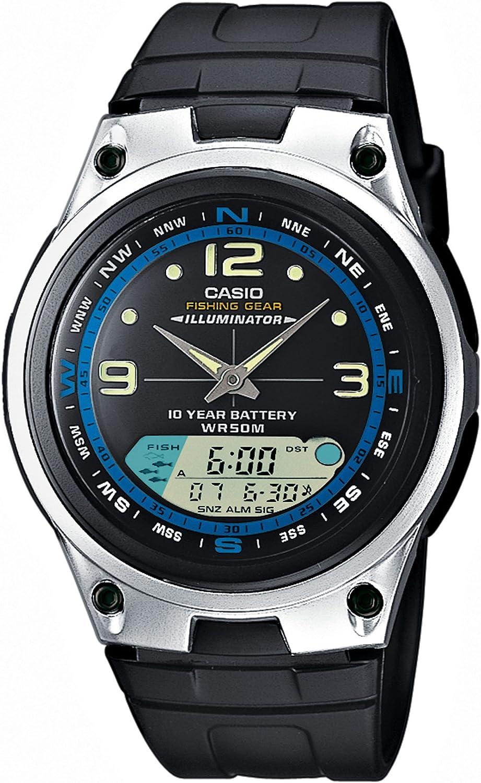 CASIO Collection AW-82-1AVES - Reloj de caballero de cuarzo, correa de resina color negro (con cronómetro, alarma, luz)