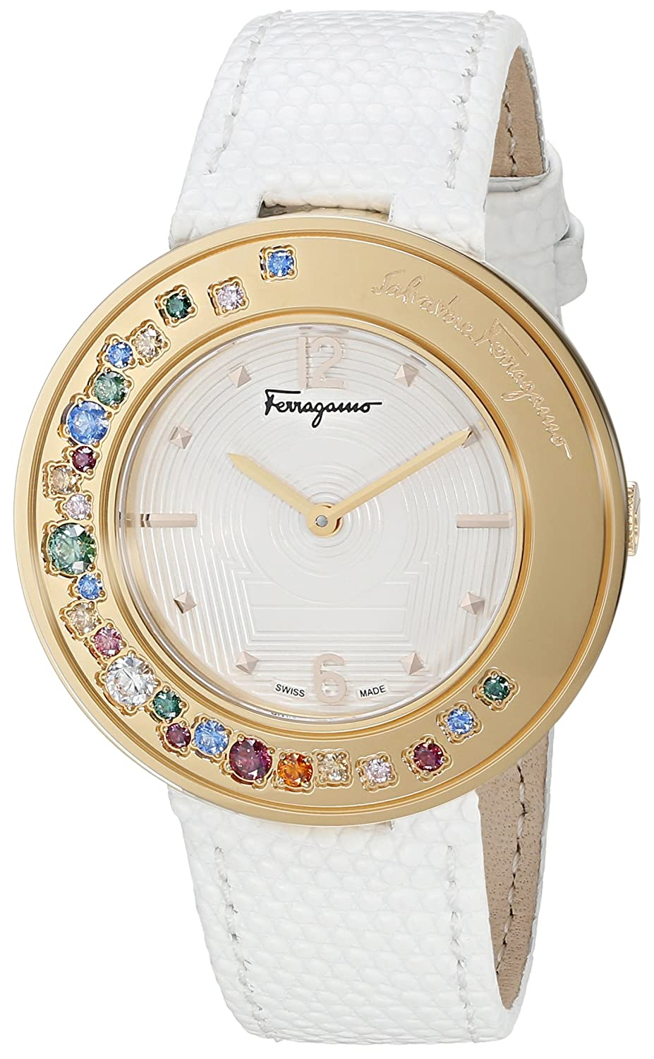 Amazon.com: Salvatore Ferragamo Womens Gancino Sparkling Quartz Stainless Steel and Leather Casual Watch, Color White (Model: FF5900015): Watches