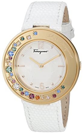 Salvatore Ferragamo Womens Gancino Sparkling Quartz Stainless Steel and Leather Casual Watch, Color