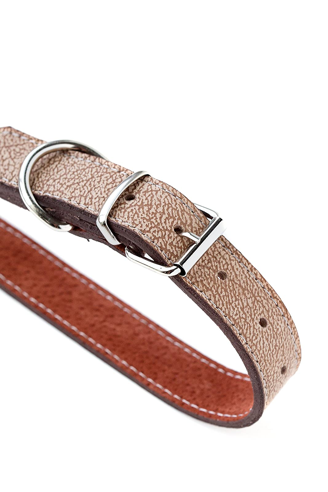 Mighty Paw Leather Dog Collar Super Soft Light Brown - 6