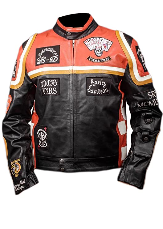 Harley Davidson Mickey Rourke Biker Piel Jacket Disfraz de Halloween Black & Orange X-Small: Amazon.es: Ropa y accesorios