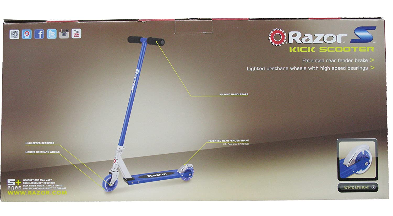 Razor S Light Up Wheels Kick Scooter Blue Green Or Purple Blue