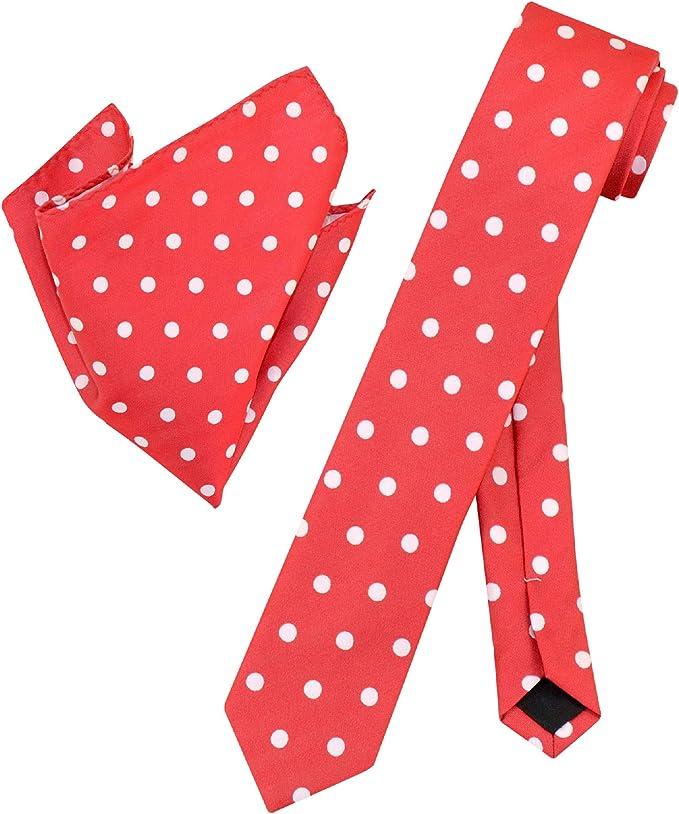 M112-S+P Pocket Square Combo Grey with Hot Pink Polka Dots Mens Handkerchief Thin Slim Tie Men Necktie Wedding Suit Matching Skinny Tie
