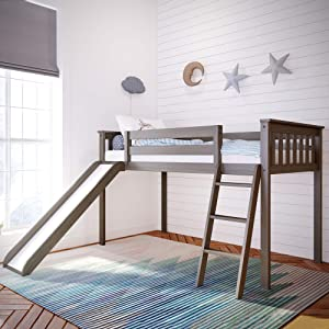 Max & Lily Solid Wood Twin-Size Low Loft Bed with Slide
