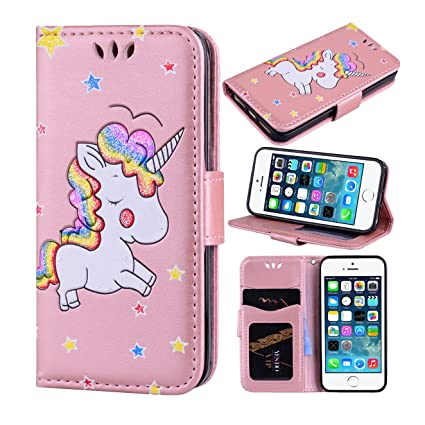 new arrivals 89650 46b60 iPhone SE Case, iPhone 5S Case, iPhone 5 Case, Ranyi [3D Glitter Unicorn  Embossed] [Flip Magnetic Wallet] [3 Card Slot] Cute Bling PU Leather Folio  ...