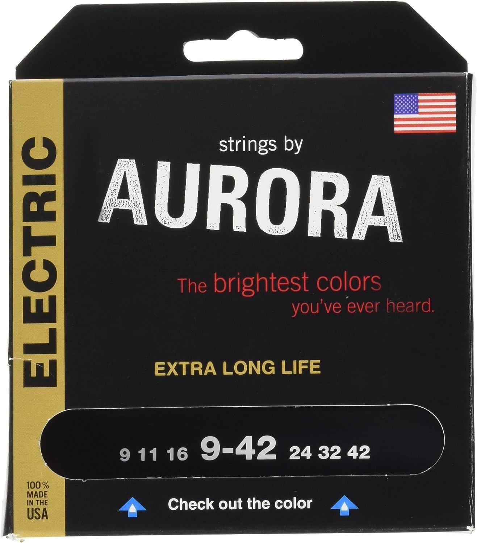 Aurora Premium Color cuerdas para guitarra eléctrica, morado, 9–42