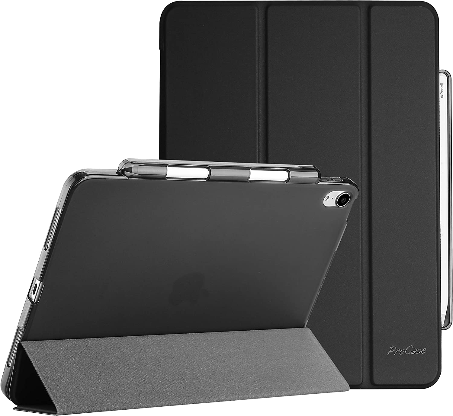 """ProCase New iPad Air 4 Case 10.9 2020 (Latest Model), Slim Case with Pencil Holder, Flexible Soft TPU Back Tri-fold Smart Shell Stand Protective Case for iPad Air 4th Generation 10.9"""" -Black"""