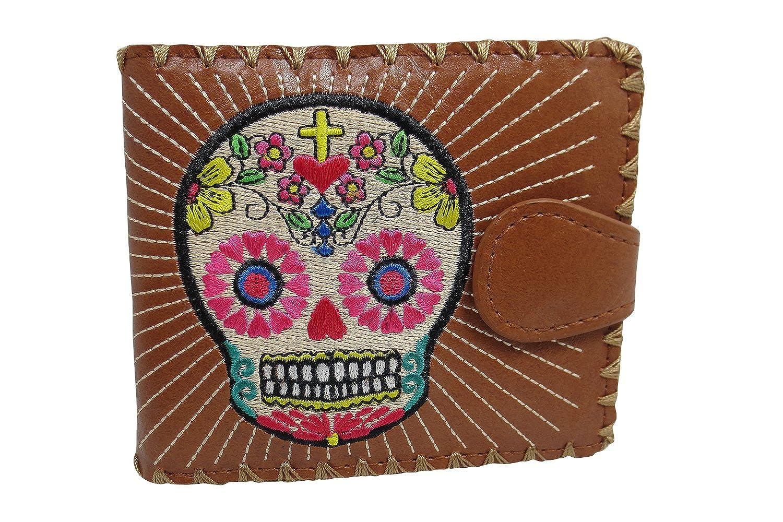 3aec32d5112a Lavishy Flower Sugar Skull Day of the Dead Embroidered Medium Wallet