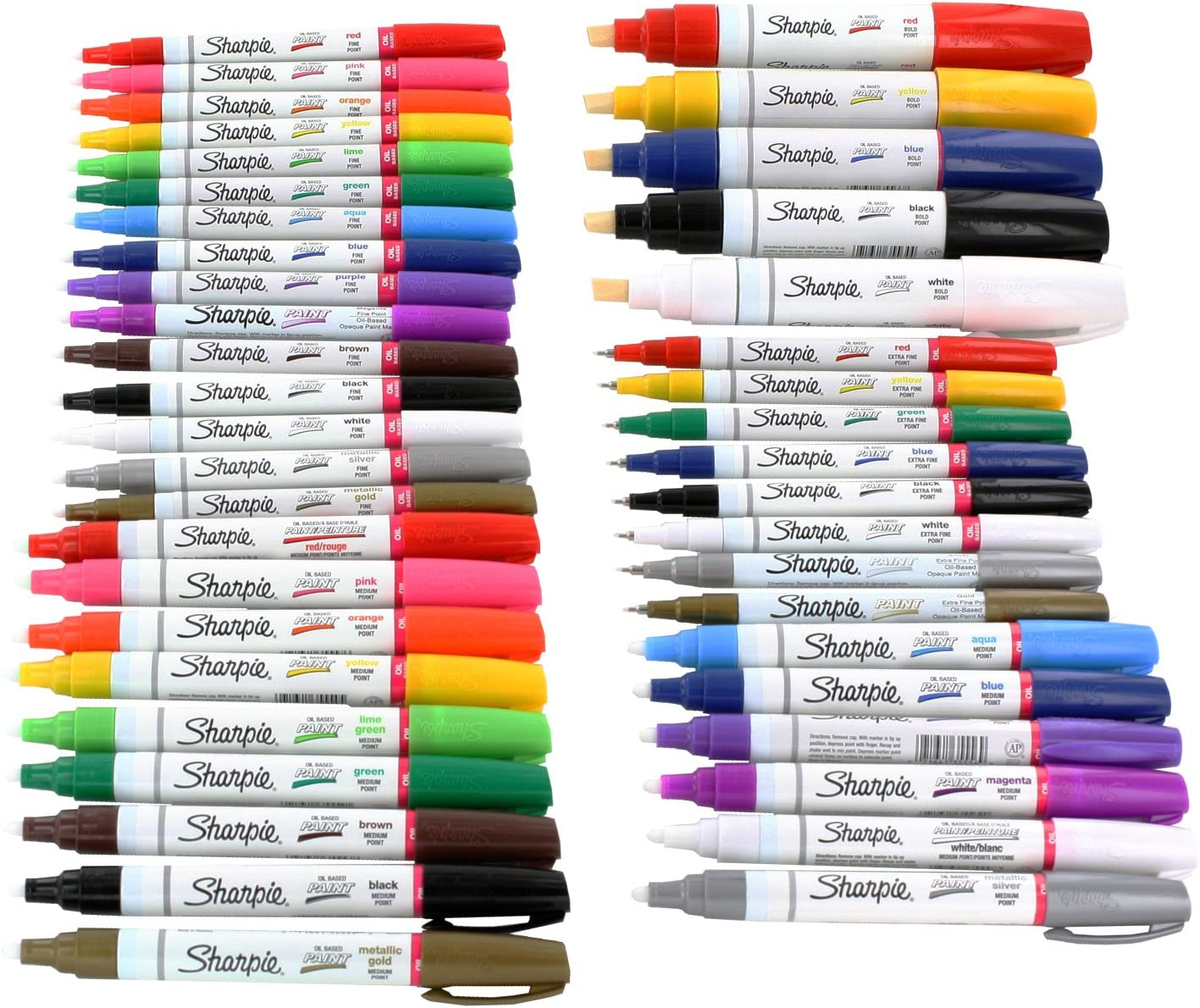 Sharpie Paint Marker Extra Fine, Fine, Medium, Bold Point Oil Based All 43 Color Set