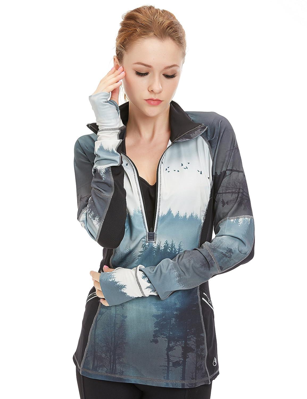 icyzone Damen Laufshirt Sport Langarm Shirt - 1/2 Reißverschluss Fitness Top Sweatshirt Laufjacke Trainingsjacke