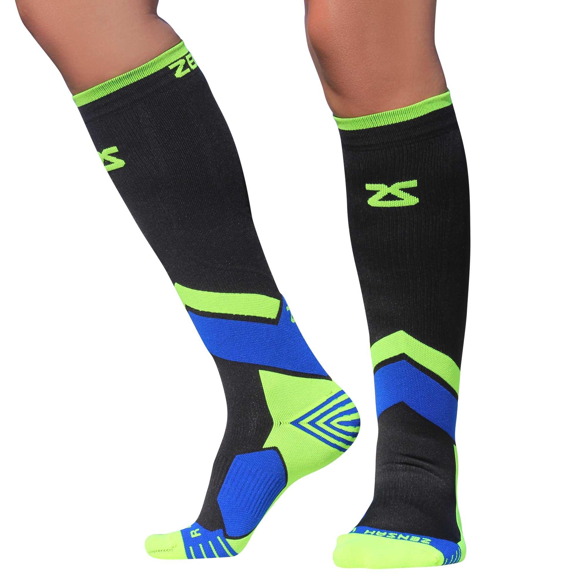 Zensah Pop Tech+ Compression Graduated Compression Socks, Black/Yellow/Blue, Small