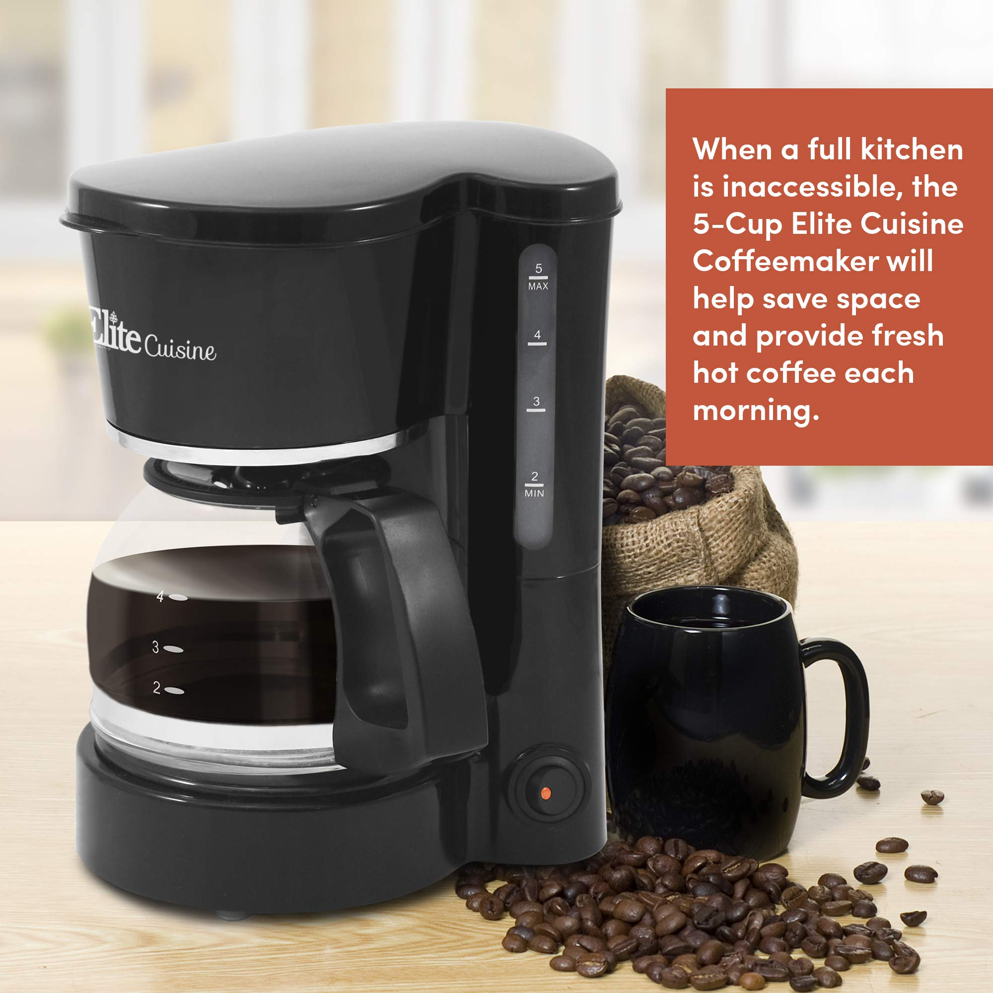 Elite Cuisine EHC-5055 Automatic Brew & Drip Coffee Maker with Pause N Serve Reusable Filter, On/Off Switch, Water Level Indicator, 5 Cup Capacity, Black by Maxi-Matic (Image #4)