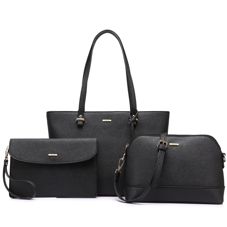 Purses and Handbags Designer Handbags for Women Tote + Crossbody + Envelope 3 Purses Set (Black)