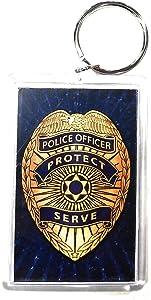 "HP Industries Police 2x3 Acrylic Keychain w/1"" Keyring Decal Logo Emblem United States US"