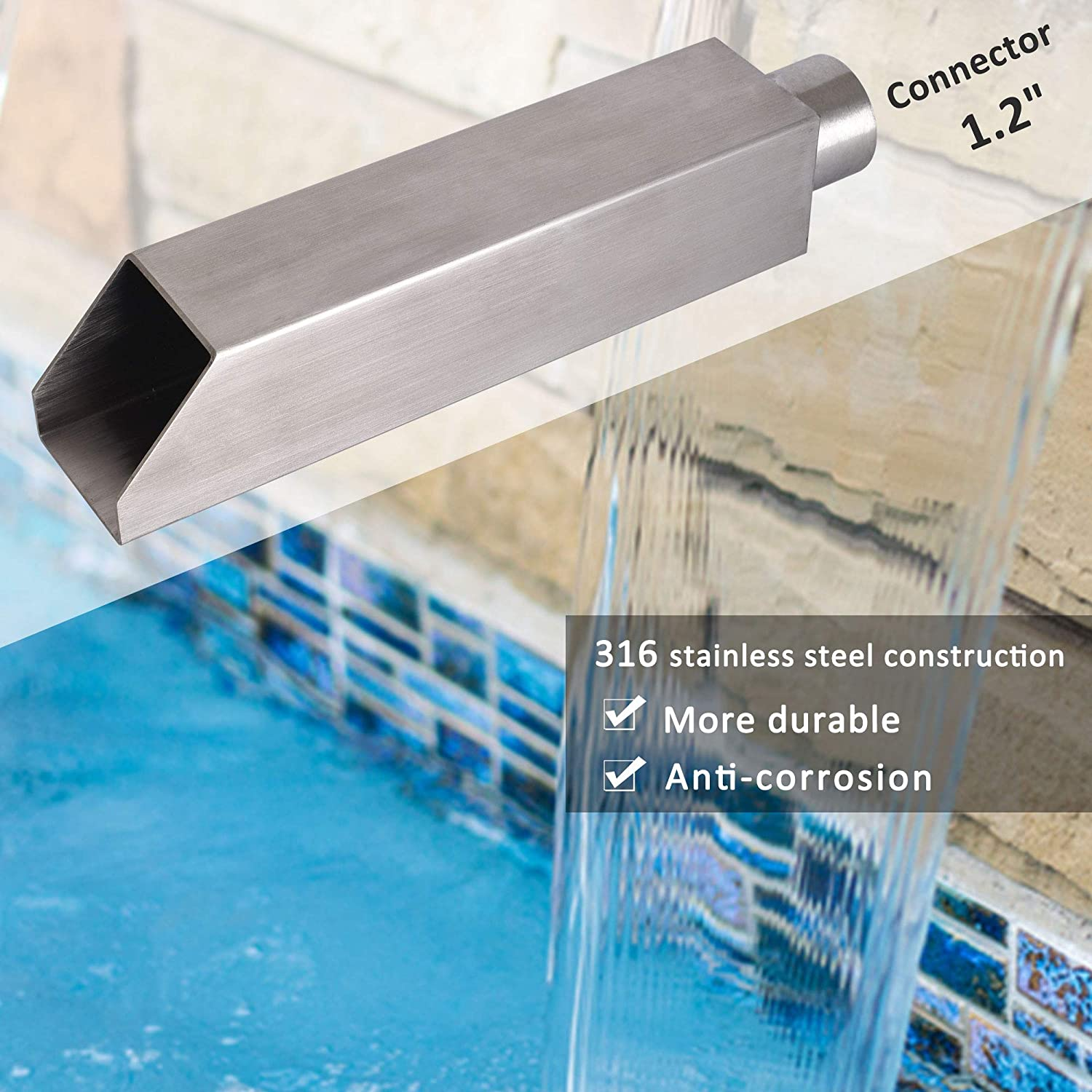 316 Nickel Brushed Stainless Steel Pool Scupper Spillway Fountain for Garden Pool Pond Fountain Water Feature SQ-1 YUDA 2 Square Water Fountain Spout Scupper
