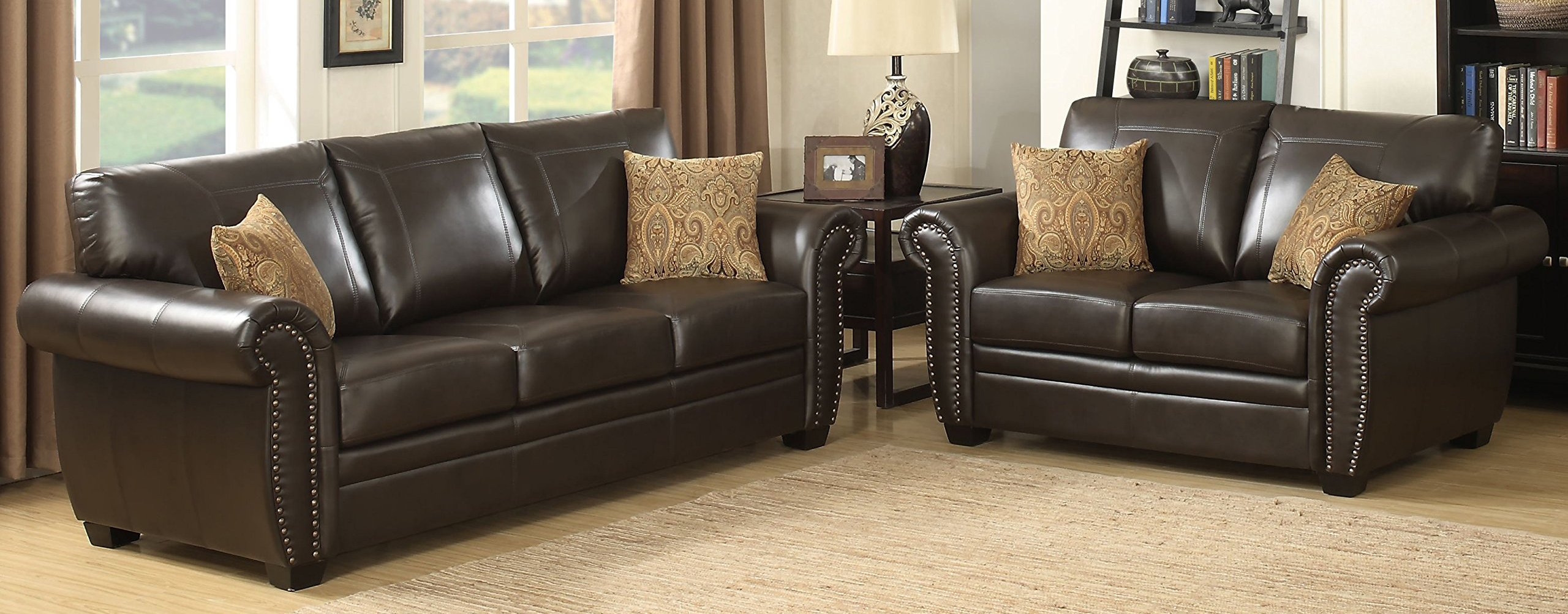Christies Home Living 2 Piece Louis Traditional Fabric Stationary Sofa and Love Seat Living Room Set with Accented Nail Head Trim, Brown by Christies Home Living
