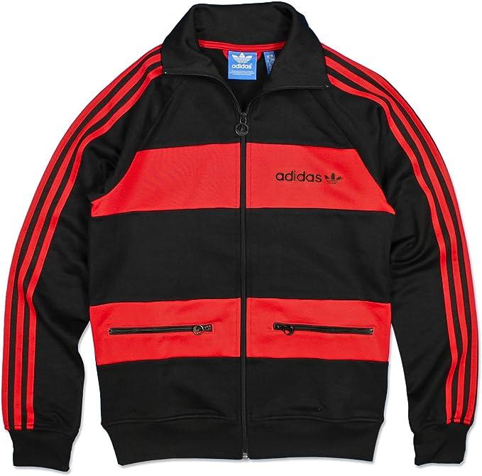 adidas beckenbauer tt jacke schwarz rot