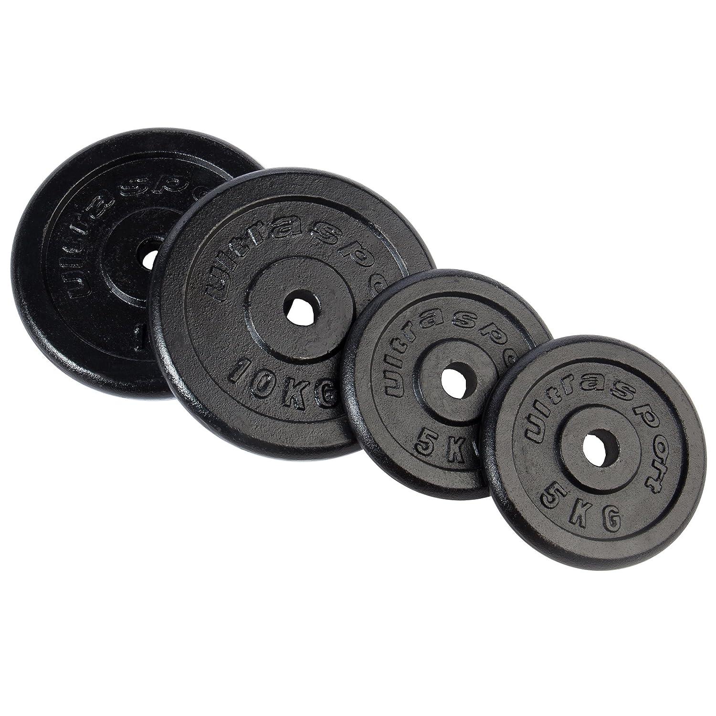 Ultrasport Discos de hierro fundido, sueltos y como set de discos, discos de peso para mancuernas y barras de musculación largas, con orificios habituales ...