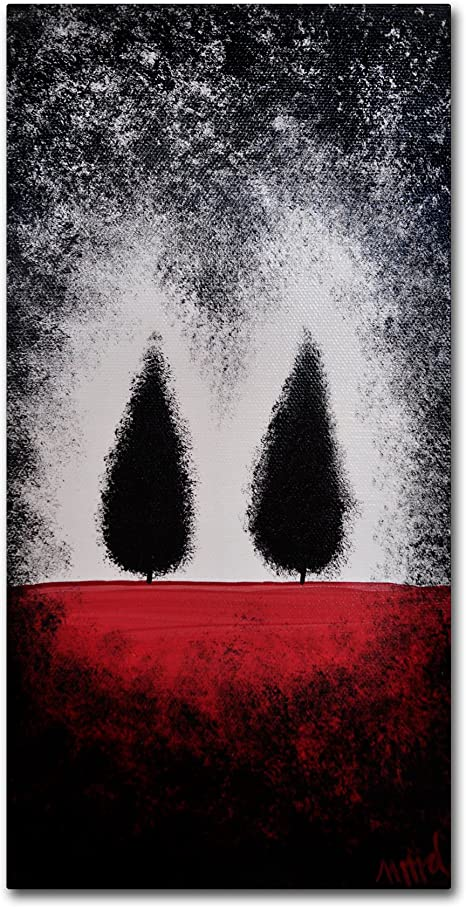 Trees On Red By Nicole Dietz Hanging Art Piece 10 X19 Canvas Wall Art Posters Prints