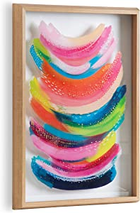 Kate and Laurel Blake Bright Abstract Framed Printed Glass Art by Jessi Raulet of EttaVee, 18x24 Natural, Beautiful Modern Glass Wall Art for Home