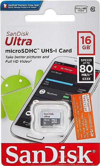 Amazon.com: SanDisk Ultra SDSQUNS-016G-GN3MN 16GB 80MB/s UHS ...