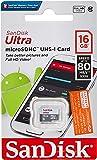 Sandisk SDSQUNS-016G-GN3MN Ultra 16GB 80MB/s UHS-I Class 10 microSDHC Card, Black