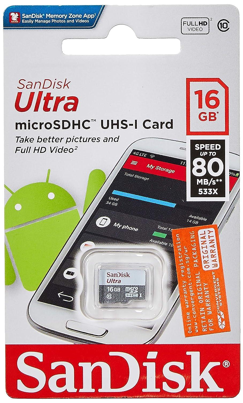 Tarjeta de Memoria SanDisk Ultra Android microSDHC de 16 GB con hasta 80 MB/sy Class 10