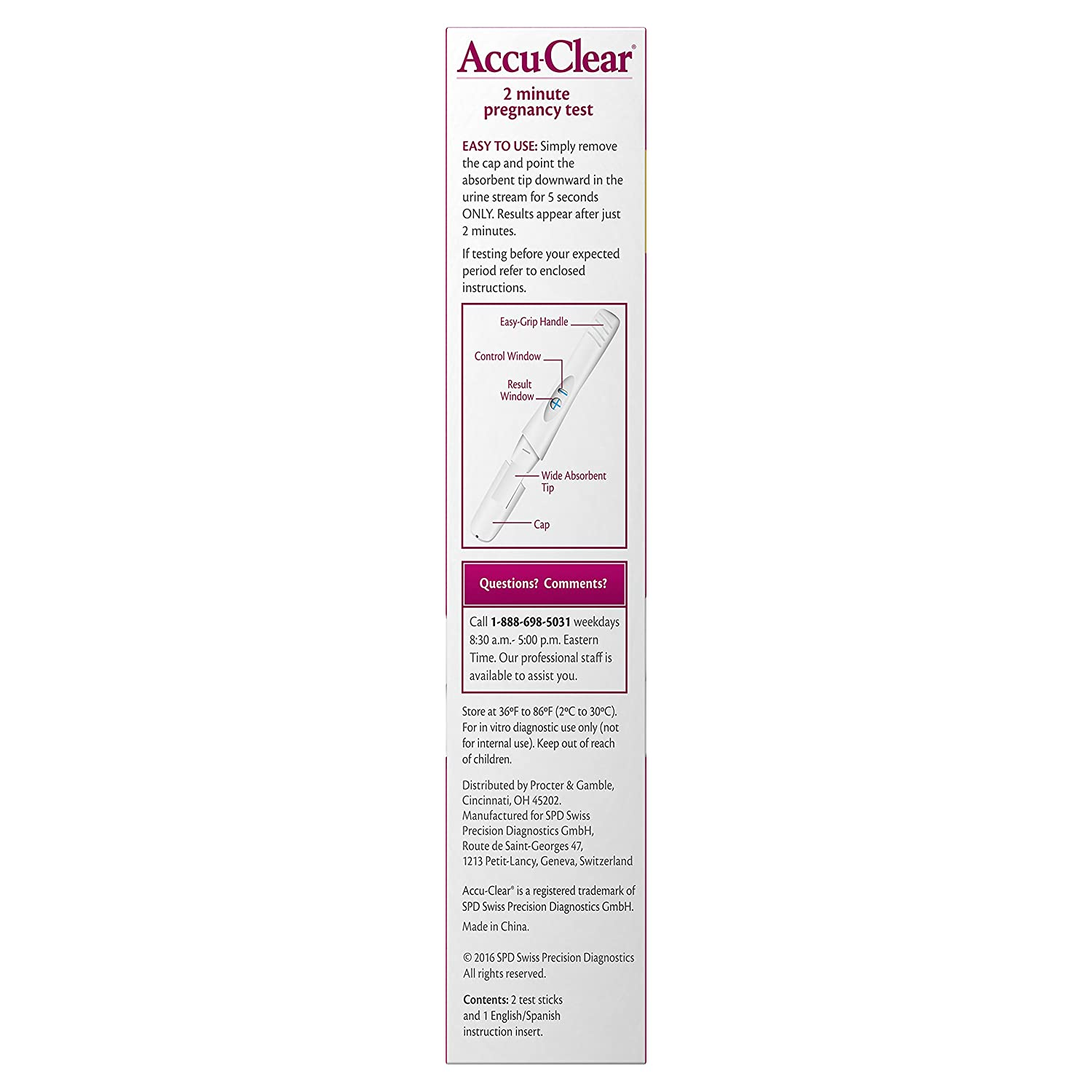 Amazon.com: Accuclear Pregnancy Test, 2-Count (Pack of 2): Health & Personal Care