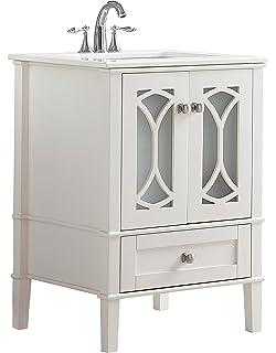 Simpli Home Paige 24 Inch Bath Vanity With White Quartz Marble Top Soft  White