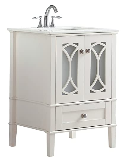 Simpli Home Paige 24 Inch Bath Vanity With White Quartz Marble Top Soft  White