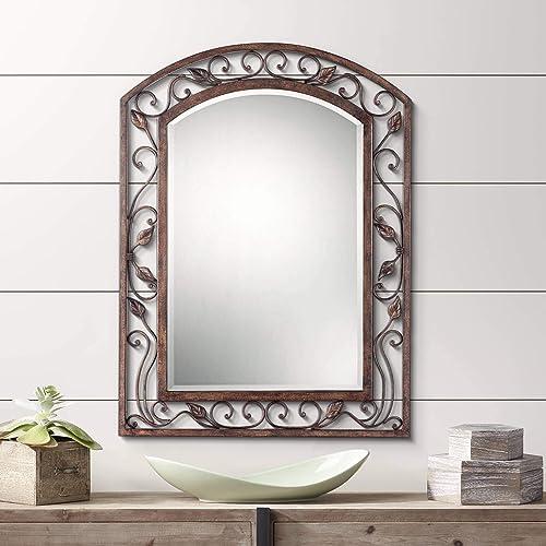 Franklin Iron Works Eden Park Bronze 25 x 34 Arch Top Wall Mirror