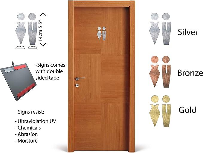 Señales para Puerta WC Cartel de baño Mujer y Hombre – Set de Carteles para Aseo - Letrero Autoadhesivo aluminio Inoxidable de 5.1 x 14 cm – Fácil de aplicar - Señal