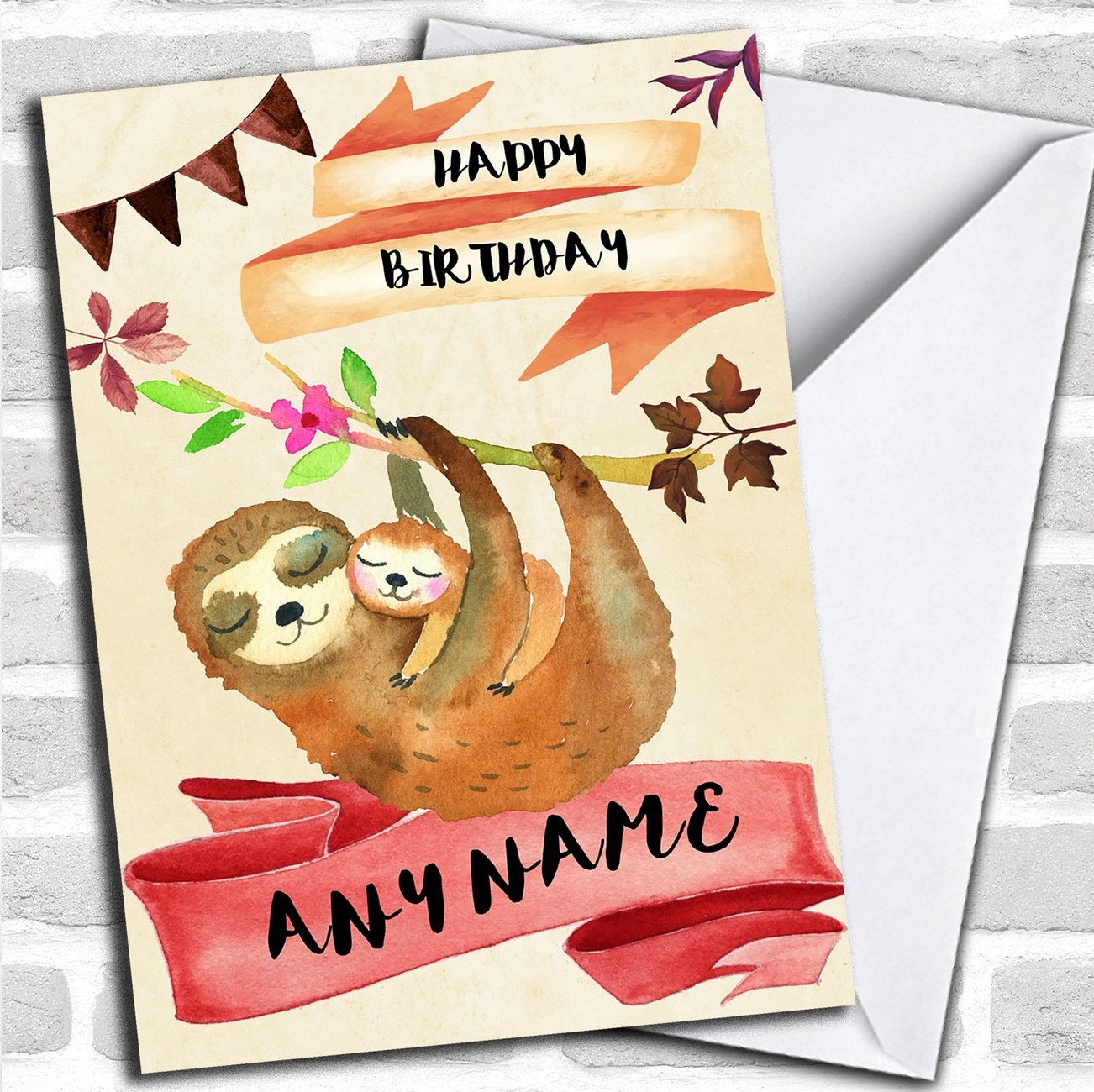 Amazon Watercolour Rustic Sloth Baby Personalized Birthday Card Office Products