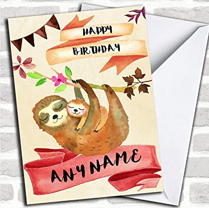 Amazon Watercolour Rustic Sloth Baby Personalized Birthday