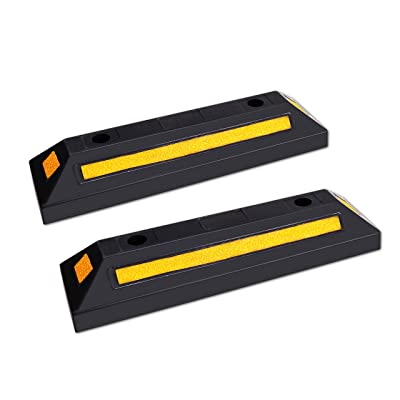 FCOME 2 Pack Heavy Duty Rubber Parking Block Parking Curb - Wheel Stop Stoppers with Scatter Glass Reflective Yellow Targets for Car Garage Floor Stops and Truck RV Stop Aid Indoor Outdoor: Automotive