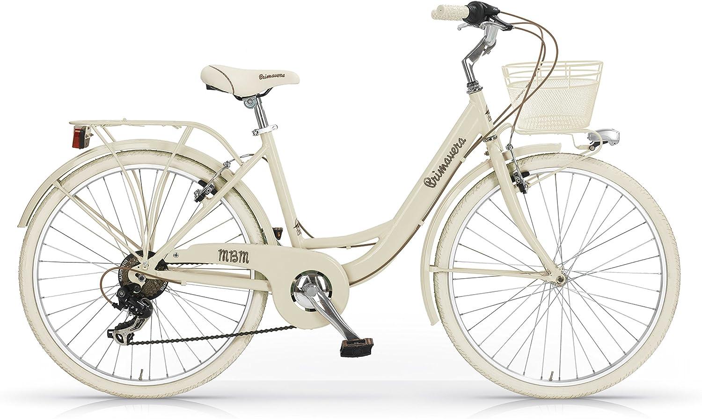 MBM Primavera Bicicleta de Paseo, Mujer, Crema, 43 Centimeters ...