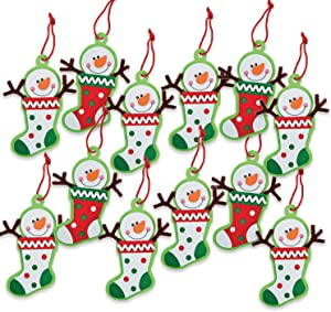 Snowman Stocking Ornament Craft Kit - 12 Pc - Crafts for Kids and Fun Home Activities