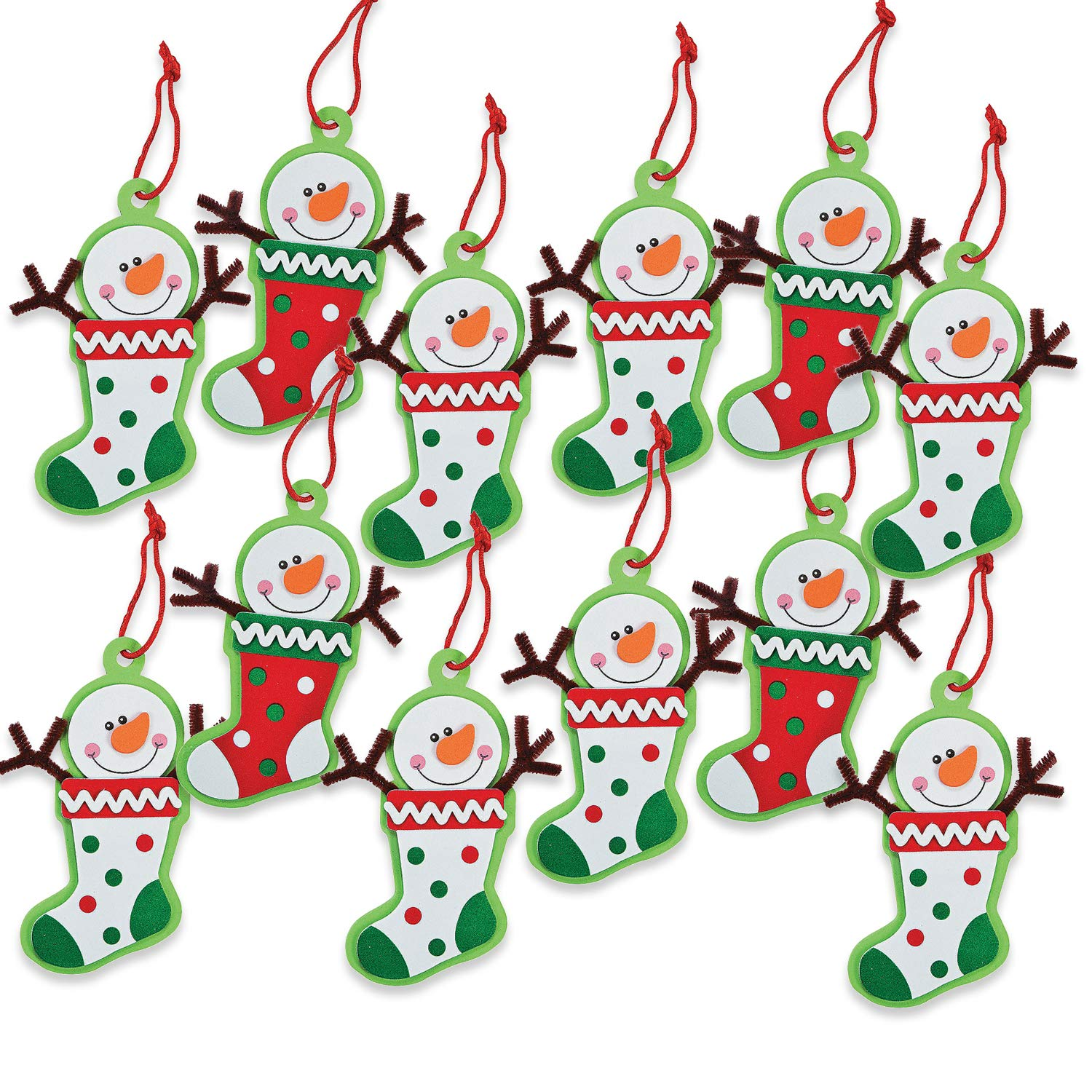 12 - Snowman Stocking Ornament Craft Kit - Crafts for Kids & Ornament Crafts 81ZuSQ9htxL