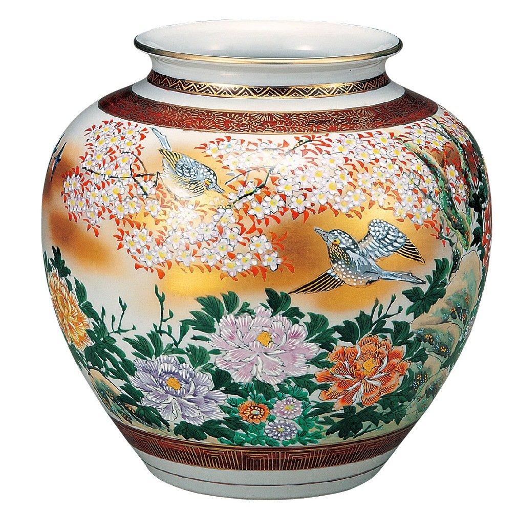 九谷焼 9.5号花瓶 本金花鳥 B072MH936L