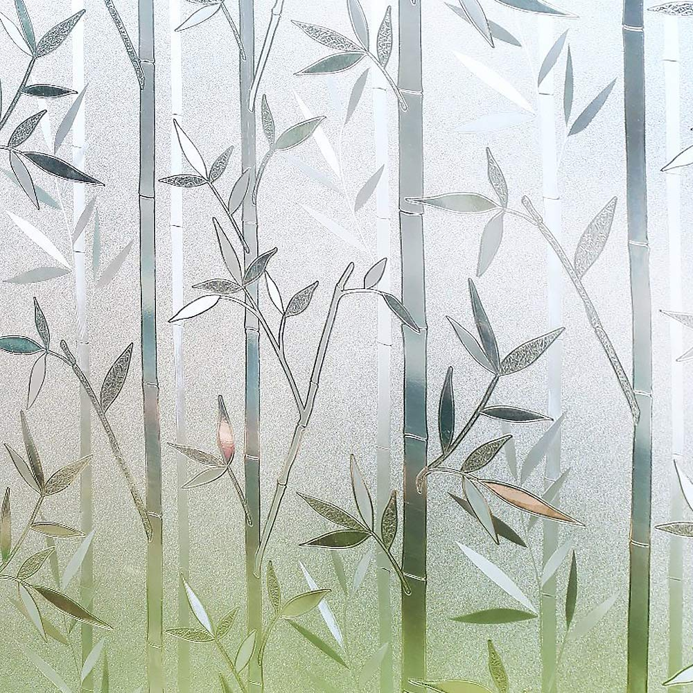 RABBITGOO 3D Privacy Window Film No Glue Static Window Cling Glass Film Bamboo Frosted Window Films Privacy Static Cling Vinyl Decorative Glass Film 23.6in. by 78.7in. (60cm x 200cm) by RABBITGOO (Image #1)