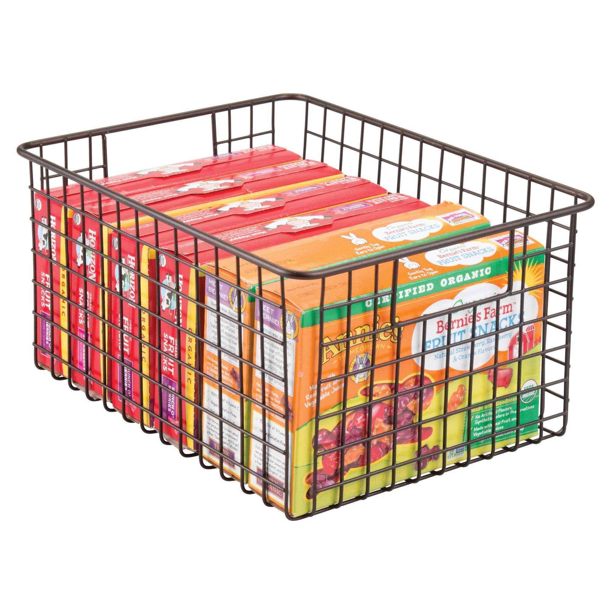 mDesign Kitchen Pantry Bathroom Office Garage Freezer Food Shelf Storage Organizer Heavy Duty Metal Wire Mesh Bins Baskets with Handles, 12'' x 9'' x 6'' - Set of 2, Bronze by mDesign (Image #2)