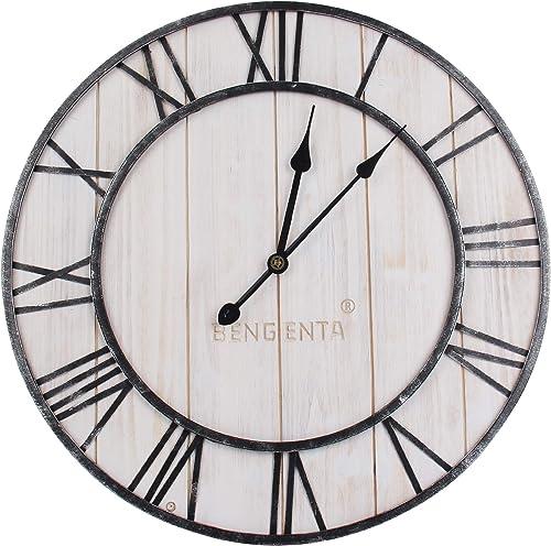 Bengenta Wall Clock Wooden Rustic Antique Decoration 3D Roman Numerals,Wall Clocks