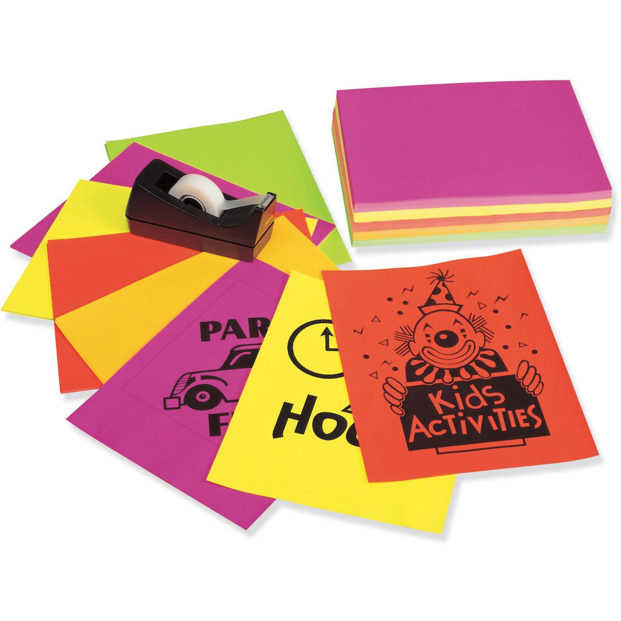 Neon Bond Paper, 24 lbs, 250 Sheets, Letter, Assorted