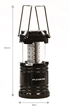 FLEXIFOIL LED Lantern – Ultra Bright Light Bulbs – Outdoor Car Camping Fishing Hiking Home Garden BBQs – Portable Collapsible Lighting – Water Resistant – Battery Operated Cable Free Emergency Lamp